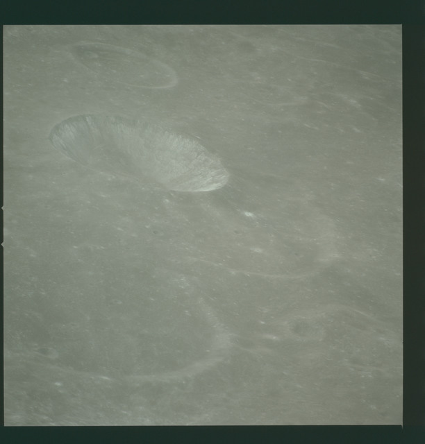 AS14-72-10014 - Apollo 14 - Apollo 14 Mission image - View of the Mare Smythii area to the north from the northwest edge of the Hirayama Crater.