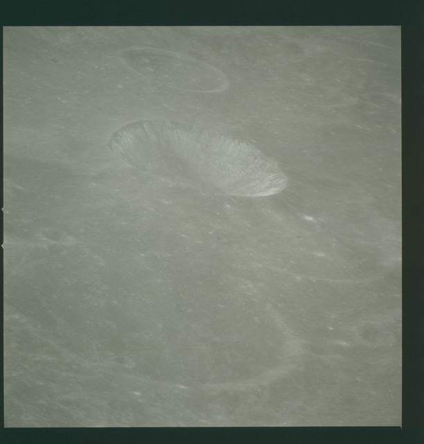 AS14-72-10015 - Apollo 14 - Apollo 14 Mission image - View of the Mare Smythii area to the northwest from the northwest edge of the Hirayama Crater.