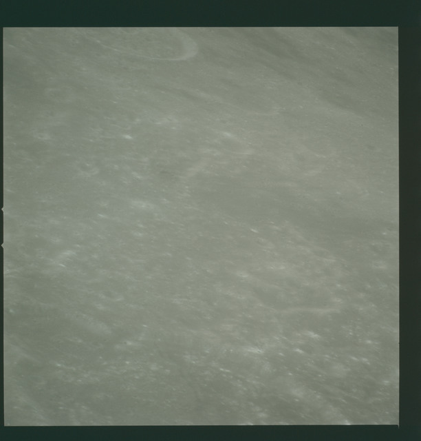 AS14-72-10018 - Apollo 14 - Apollo 14 Mission image - View of the Mare Smythii area to the northwest from the northwest edge of the Hirayama Crater.