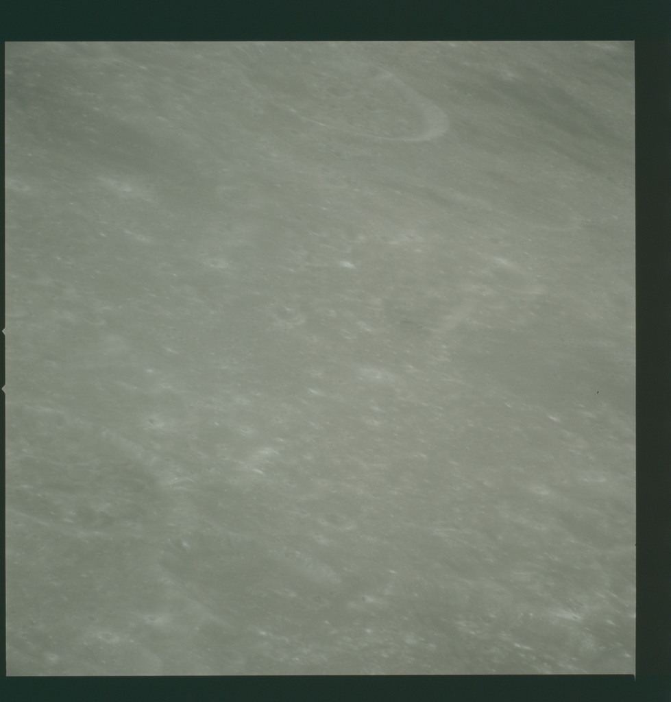 AS14-72-10019 - Apollo 14 - Apollo 14 Mission image - View of the Mare Smythii area to the northwest from the northwest edge of the Hirayama Crater.