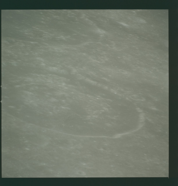 AS14-72-10025 - Apollo 14 - Apollo 14 Mission image - View of the Mare Smythii area to the northwest from the from a point west-northwest of the Hirayama Crater.