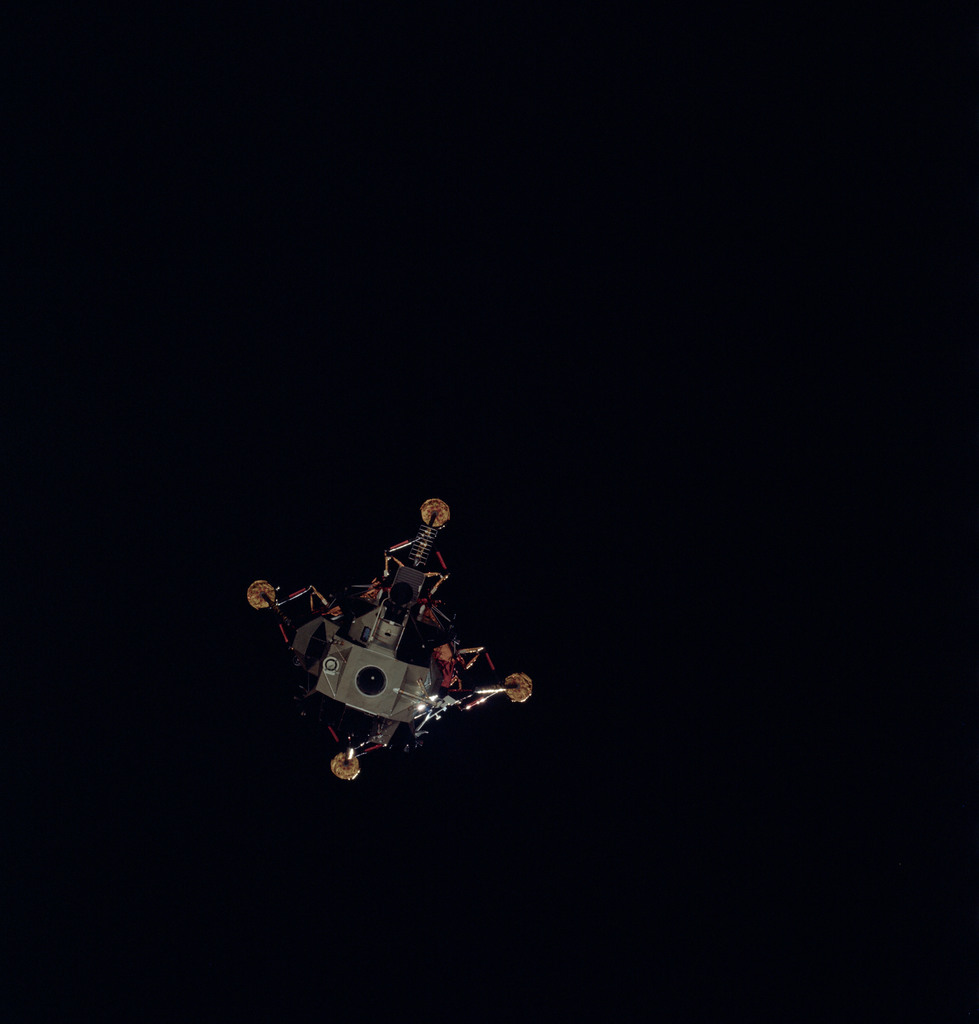 AS14-74-10207 - Apollo 14 - Apollo 14 Mission image - View of the Lunar Module seperation prior to landing.