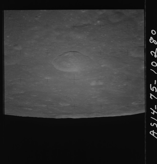 AS14-75-10280 - Apollo 14 - Apollo 14 Mission image - View of the lunar surface looking east towards the Meitner and Langemak Craters.