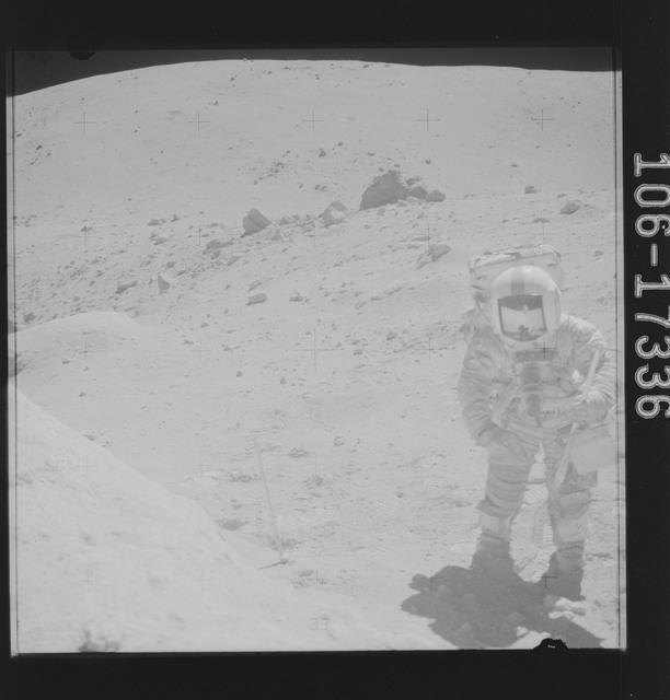 AS16-106-17336 - Apollo 16 - Apollo 16 Astronaut John Young photographed collecting lunar samples