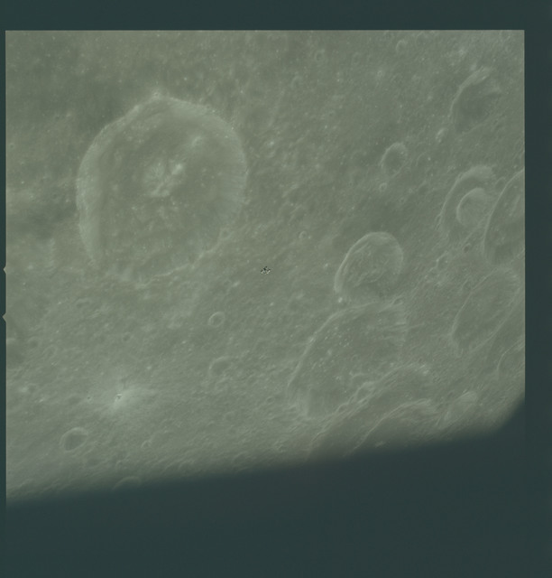 AS16-122-19528 - Apollo 16 - Apollo 16 Mission image - View of the Schubert Z Crater during LM Rendezvous.