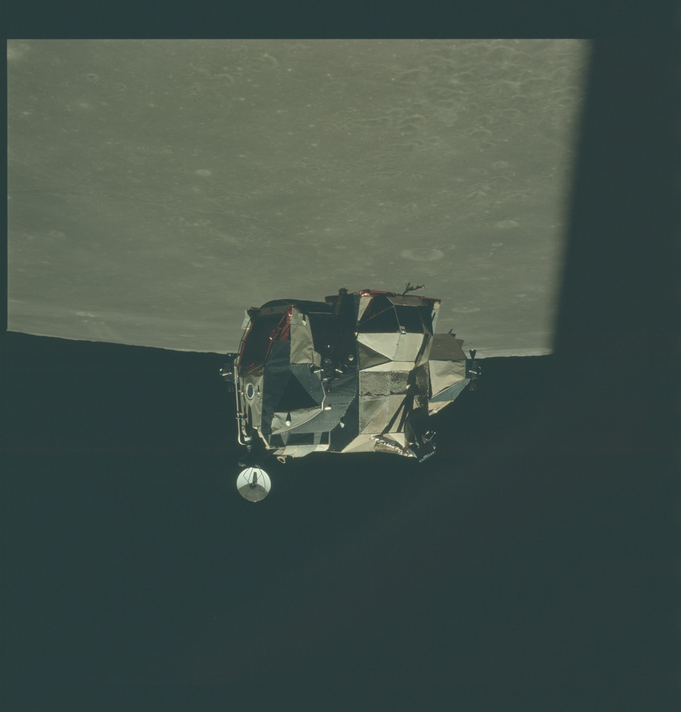 AS16-122-19531 - Apollo 16 - Apollo 16 Mission image - View of the Messier A Crater and LM during LM Inspection.