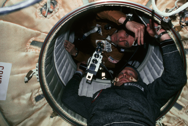 AST-03-191 - Apollo Soyuz Test Project - Apollo Soyuz Test Project, Stafford and Leonov in hatchway