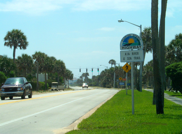 A1A Scenic and Historic Coastal Byway - A1A Scenic Highway Roadsign