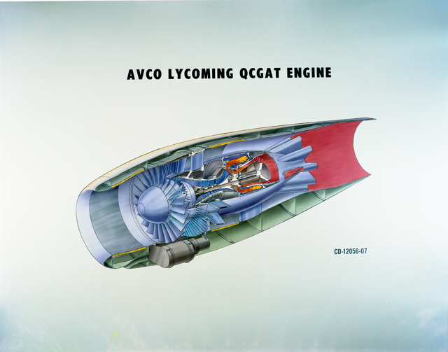 AVCO LYCOMING QCGAT QUIET CLEAN GENERAL AVIATION TURBOFAN ENGINE AND GARRETT AIRESEARCH QCGAT ENGINE
