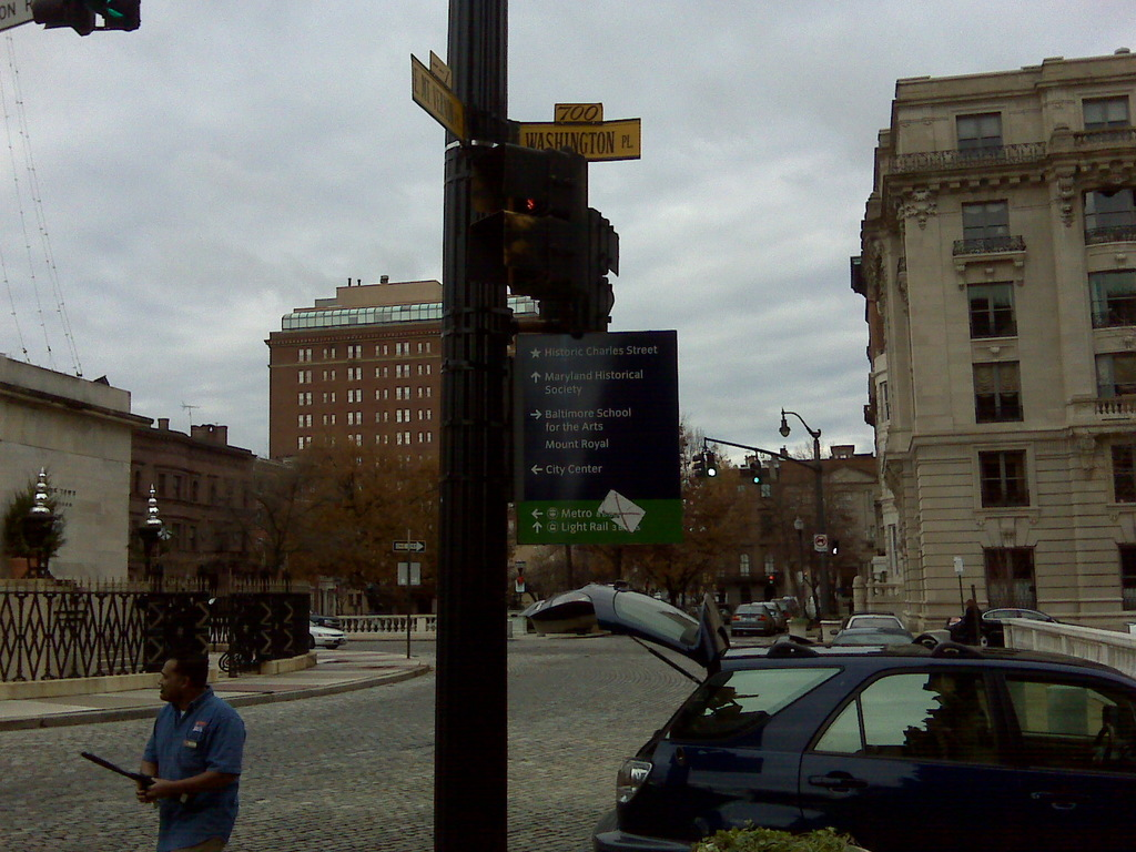 Baltimore's Historic Charles Street - A Step Away From Pedestrian Wayfinding Sign