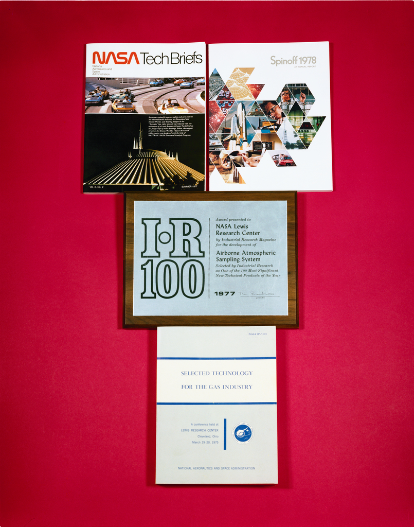 COMPOSITE OF TECHNOLOGY UTILIZATION TU PUBLICATIONS AND IR-100 AWARD PLAQUE