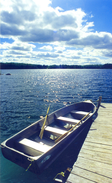 Edge of the Wilderness - A Rowboat at the Dock