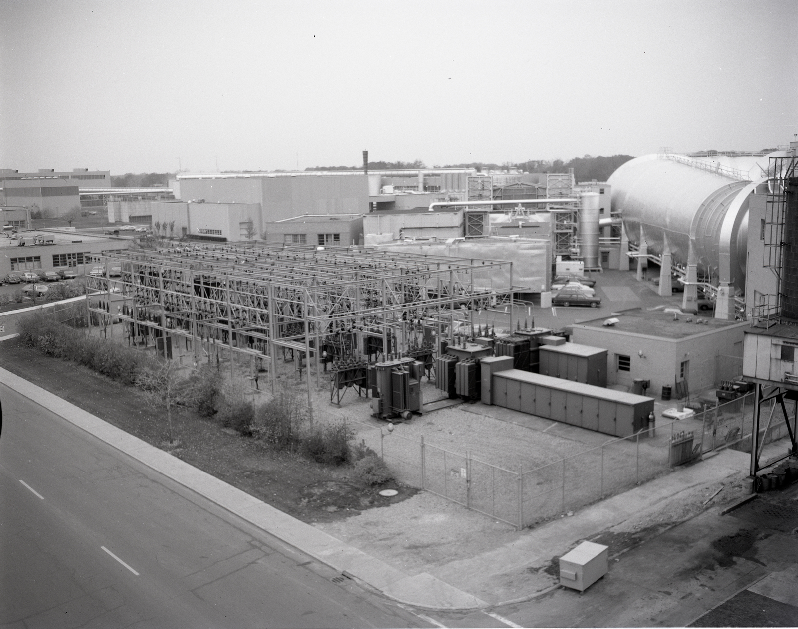 EXTERIOR VIEWS OF SUBSTATIONS AND TUNNELS PHOTOGRAPHED FROM A CHERRY PICKER
