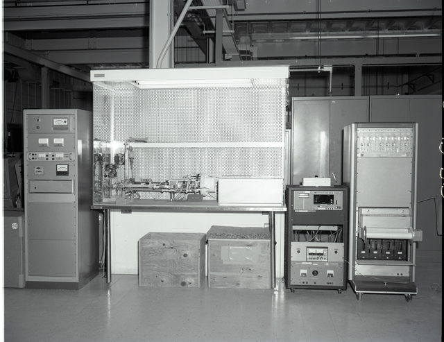 HIGH POWER BURN IN STATION IN THE MPB AREA OF THE 8X6 FOOT WIND TUNNEL MODEL PREPARATION BUILDING - ANTENNA CONTROL CONSOLE IN SATELLITE CONTROL CENTER AREA IN BASEMENT AREA