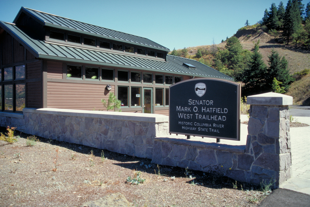Historic Columbia River Highway - Sign for Mark O. Hatfield West Trailhead and Visitor Center