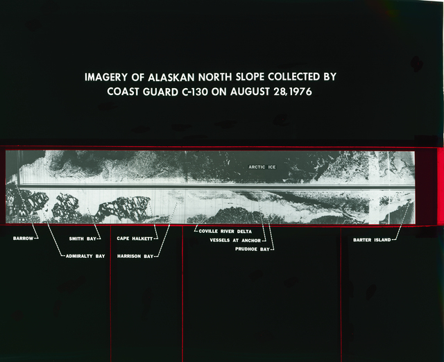 IMAGERY OF ALASKA NORTH SLOPE COLLECTED BY UNITED STATES COAST GUARD USCG C-130 AIRPLANE ON AUGUST 28 1976 - COAST GUARD AND NATIONAL WEATHER SERVICE NWS AND NASA ALASKAN ICE INFORMATION SYSTEM