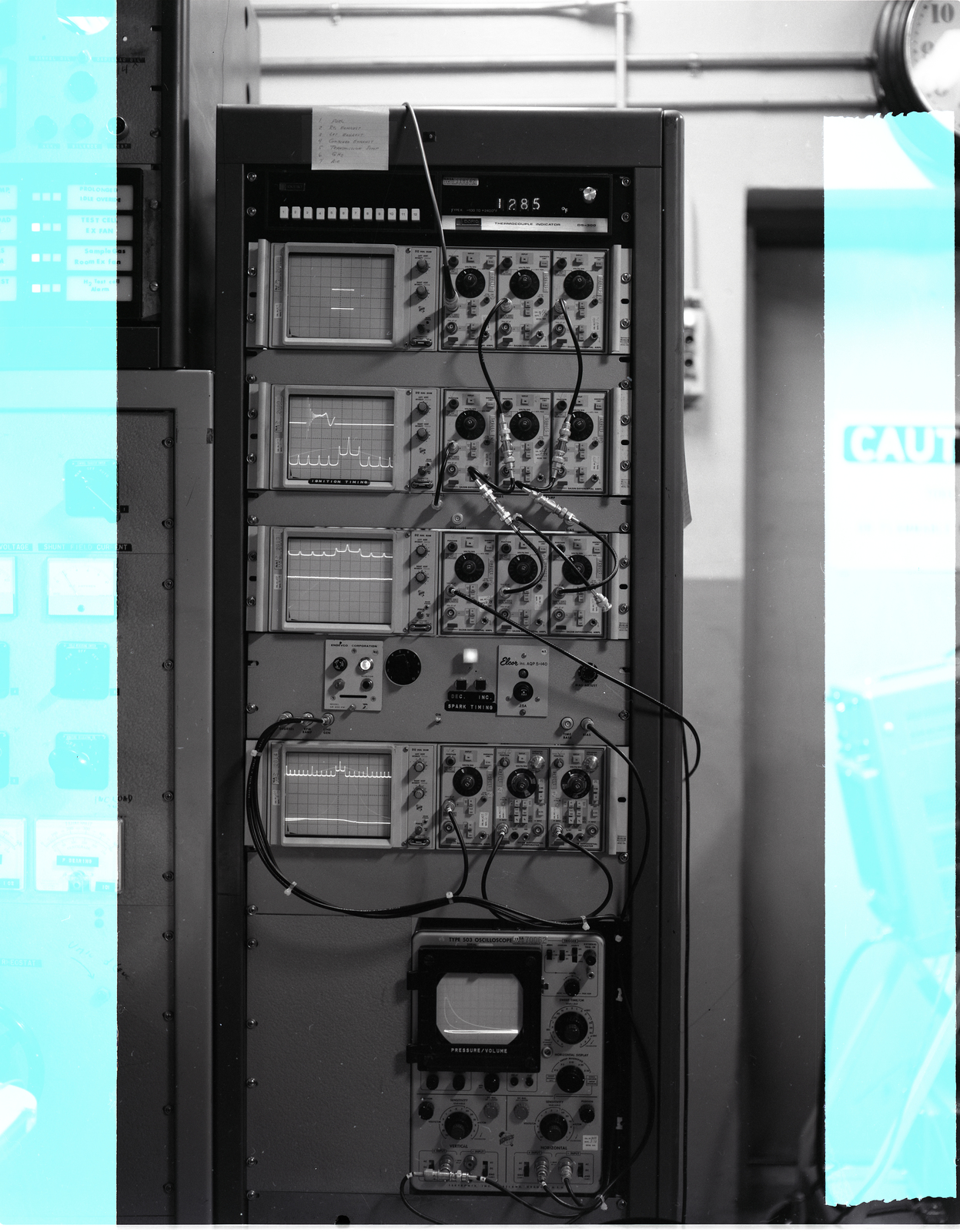 INSTRUMENTS ON CADILLAC ENGINE - OSCILLOSCOPES IN CONTROL ROOM