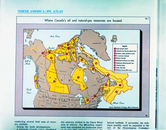 IPE ATLAS - CANADIAN OIL AND NATURAL GAS RESOURCES MAP OF CANADA