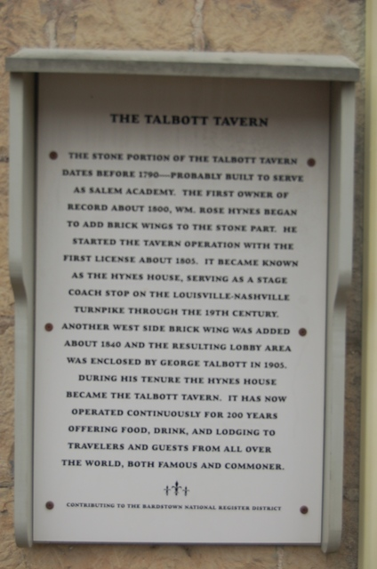 Lincoln Heritage Scenic Highway - Informative Sign on Old Talbott Tavern Wall