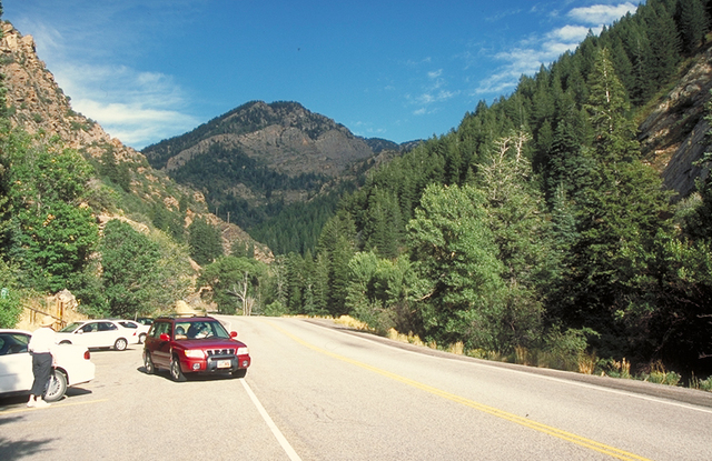Logan Canyon Scenic Byway - Traveler Leaving an Interpretive Site
