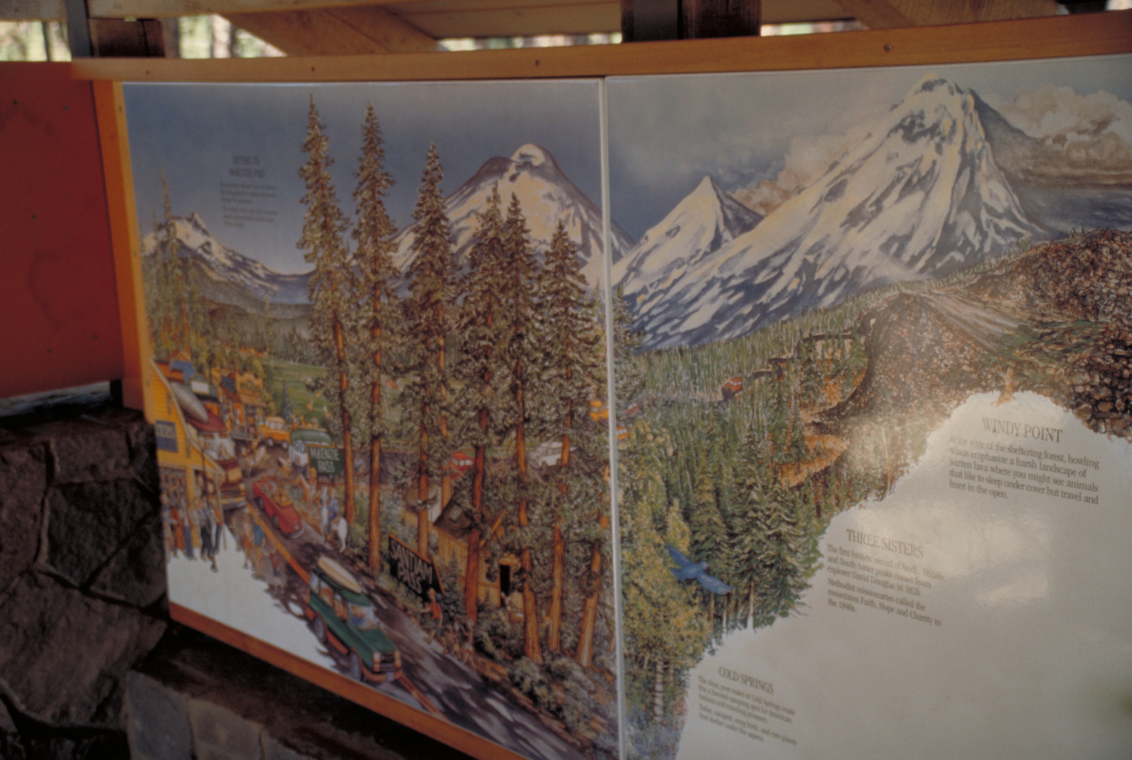 McKenzie Pass-Santiam Pass Scenic Byway - Interpretive Mural inside Visitor Center on the Cycling the Pass on McKenzie Pass - Santiam Pass Scenic Byway