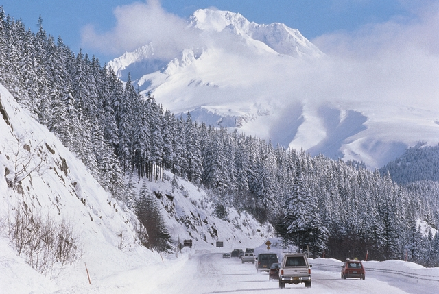 Mt. Hood Scenic Byway - The Snow-covered Slopes of Mt. Hood