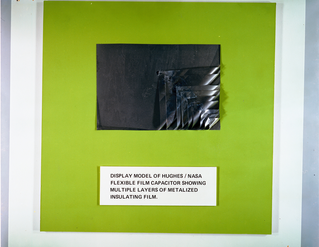 N GRIER AND I MYERS - IR-100 AWARD PLAQUE - DISPLAY MODEL OF HUGHES / NASA FLEXIBLE FILM CAPACITOR