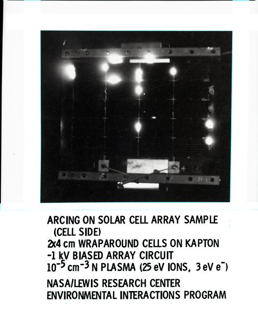 NASA MARSHALL SPACEFLIGHT CENTER SOLAR ARRAY SAMPLE IN PLASMA