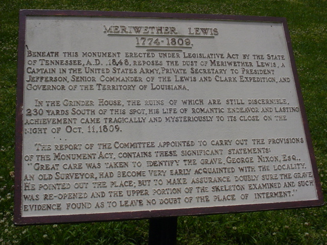 Natchez Trace Parkway - Meriwether Lewis Plaque