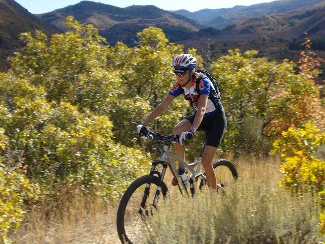 Nebo Loop Scenic Byway - Mountain Biker Speeding along Lower Payson Canyon Trails