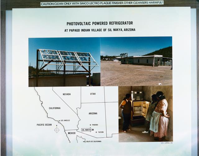 PHOTOVOLTAIC POWERED REFRIGERATOR AT WILDERNESS TRAIL CONSTRUCTION CAMP - ISLE ROYALE NATIONAL PARK MICHIGAN - PAPAGO INDIAN VILLAGE OF SIL NAKYA ARIZONA