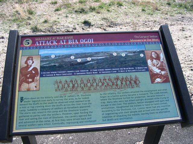 "Pioneer Historic Byway - Interpretive Sign at Bear River Massacre Site: ""Attack at Bia Ogoi"""