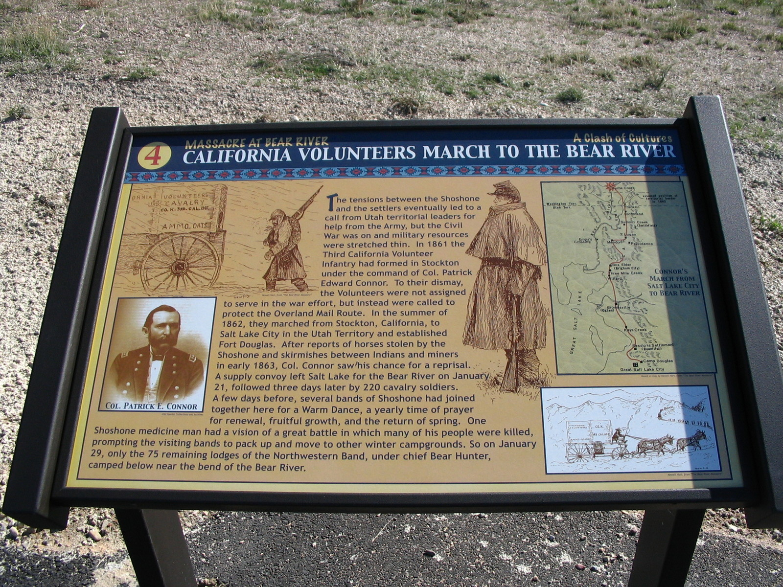 Pioneer Historic Byway Interpretive Sign At Bear River Massacre