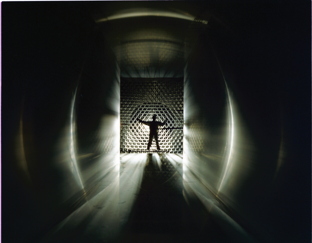SILHOUETTE OF WORKMAN IN THE 8X6 FOOT WIND TUNNEL