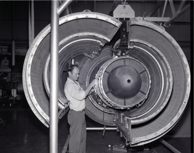 TF-34 ENGINE IN COWLING