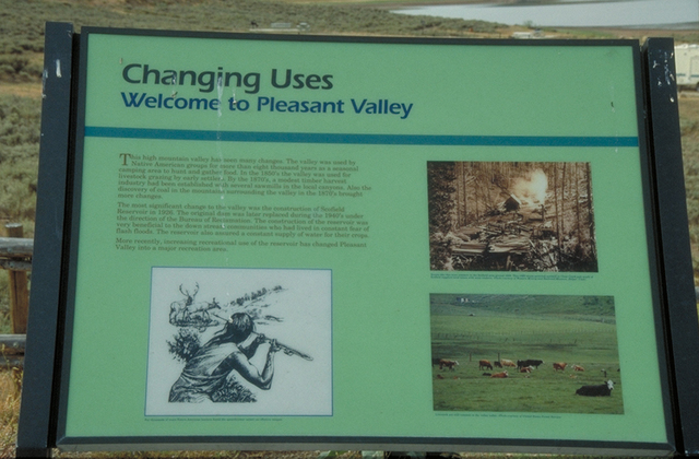 The Energy Loop: Huntington/Eccles Canyons Scenic Byway - Changing Uses: Welcome to Pleasant Valley Sign on The Energy Loop