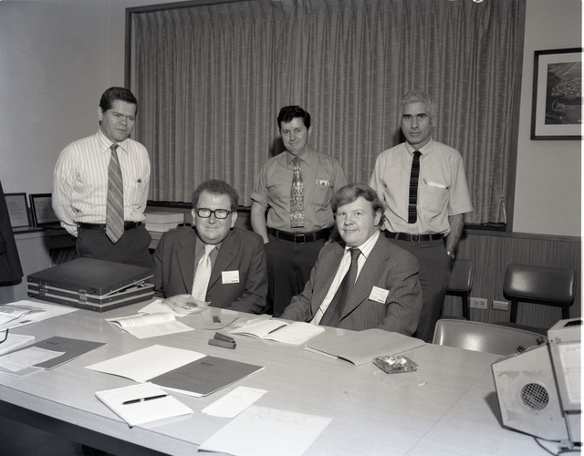 VISIT - LEFT TO RIGHT SEATED - P KENNEDY - W MCLAUGHLIN UNITED KINGDOM ATOMIC ENERGY AUTHORITY PRESTON ENGLAND - LEFT TO RIGHT STANDING - H B PROBST NASA - W A SANDERS NASA - R L ASHBROOK NASA