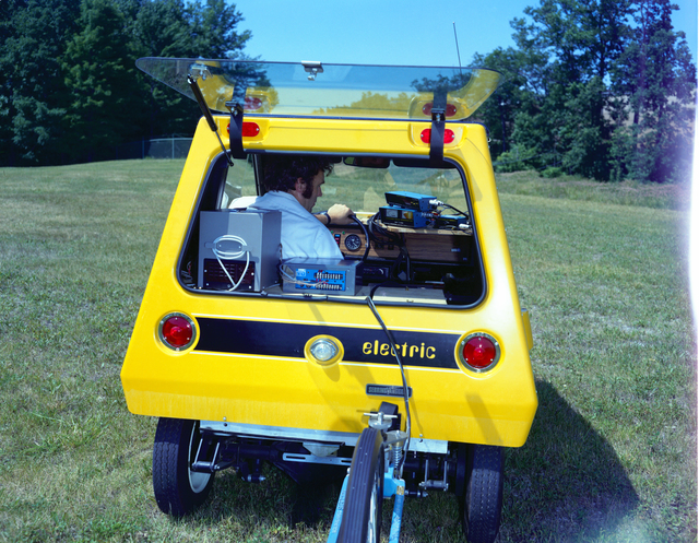 YELLOW CITICAR VEHICLE IN THE SPACE POWER CHAMBER SPC