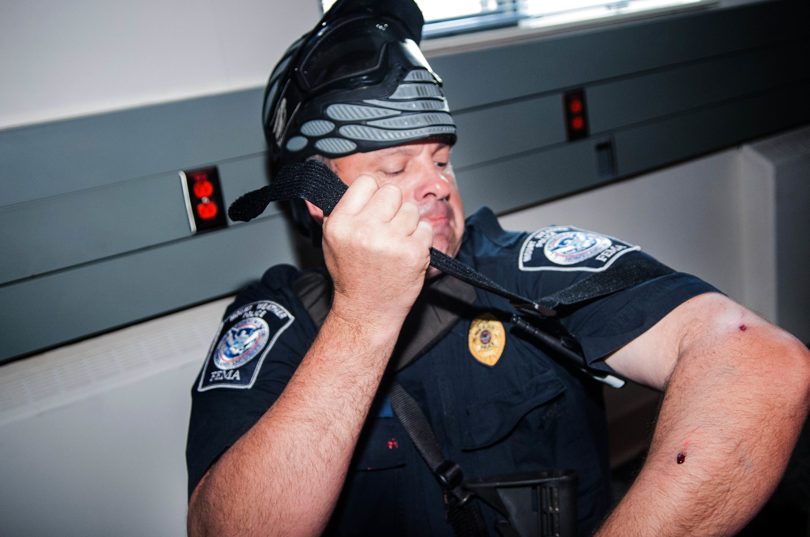A Mount Weather Police Officer treats a simulated wound