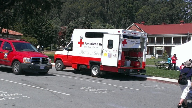 An American Red Cross truck at a disaster planning event that took place in the Presidio, San Francisco, CA in June 2014