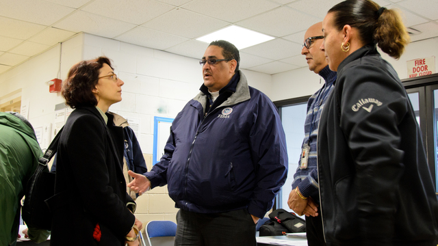 Breezy Point, N.Y., Feb. 5, 2013 -- Under Secretary of Transportation for Policy, Ms. Polly Trottenberg, visits the Disaster Recovery Center (DRC) at Fort Tilden with FEMA Deputy DRC Coordinators, Eddie Diaz and Free Palmer. Several FEMA partners, including the Small Business Administration (SBA), Housing & Urban Development (HUD), NY State Department of Motor Vehicles and the US Post Office are stationed at Fort Tilden to provide one-stop assistance to residents affected by Hurricane Sandy and the fires at Breezy Point. Andre R. Aragon/FEMA