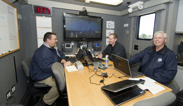 Colorado Springs, Colo., September 24, 2013 -- Members of the Mobile Emergency Response group sit in the command truck used by FEMA to provide various forms of communications.  From left to right, Paul L. Elder, South Central Region Field Manager in the Colorado Dept of Public Safety; Williman Watrel, FEMA Branch III Director and John Bondurant, FEMA Division Supervisor.  FEMA is working with local, state and other federal agencies to provide assistance to residents, businesses and communities affected by the recent floods.  Photo by Patsy Lynch/FEMA