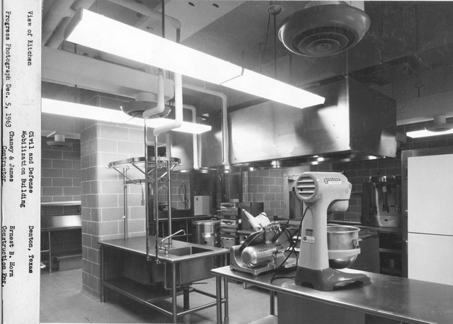 Denton, Texas, December 5, 1963 -- The kitchen in the Federal Regional Center (FRC) in Denton, Texas, as it existed in December of 1963. The FRC was built in the early 1960s to provide shelter to federal officials in the event of a nuclear war. The kitchen was removed in 2009 to provide additional office space