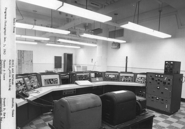 Denton, Texas, December 5, 1963 -- The was the communications room of the Federal Regional Center (FRC) in Denton, Texas. The FRC was the first shelter of its kind. It was intended to provide shelter to federal officials in the event of a nuclear attack. The FRC was constructed before FEMA came into existence