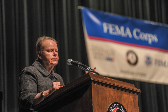 Denver, Colo., November 20, 2013 -- Kate Raftery, National Director for AmeriCorps NCCC, address the Class XIX-B  FEMA Corps graduation ceremony. Photo Michael Rieger/FEMA