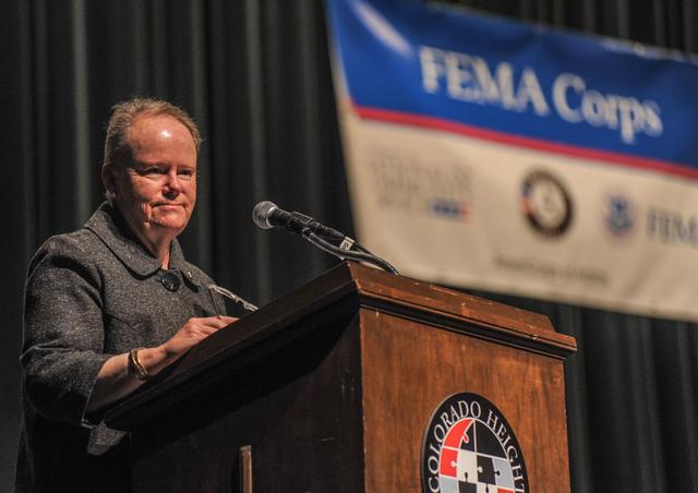 Denver, Colorado Novemeber 20, 2013 - Kate Raftery, National Director for AmeriCorps NCCC, address the Class XIX-B  FEMA Corps  graduation ceremony. Photo Michael Rieger/FEMA