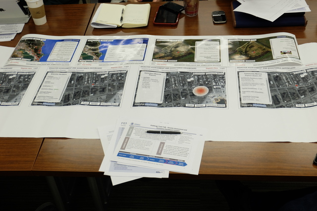 Developers at Appalicious created a Disaster Assistance Assessment Dashboard that utilizes some of FEMA's publicly available data sets.  Here, mockups of the dashboard are shared with participants at FEMA's first-ever Data Town Hall