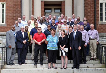 Emmitsburg, Md., July 24, 2013 -- Deputy Administrator for Protection and National Preparedness Timothy Manning joins in the photo with the first cohort of the National Emergency Management Executive Academy.  The role of the Academy is to advance the emergency management profession and its executive leadership