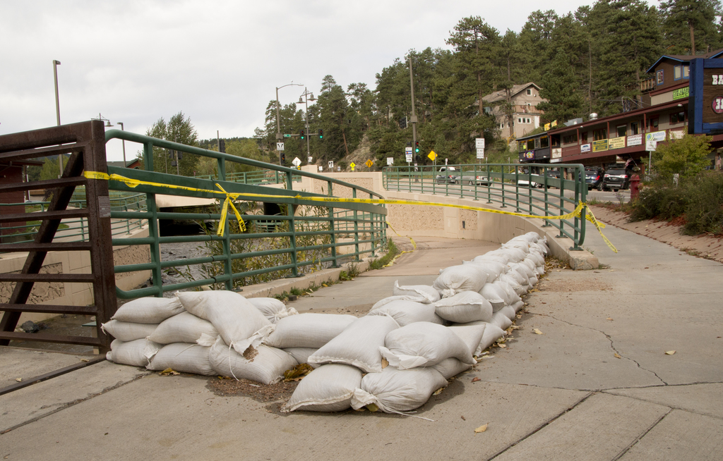 Evergreen, Colo., September 23,2013 -- A section of a bike trail in downtown Evergreen is still blocked off due to flooding. Photo by Patsy Lynch/FEMA
