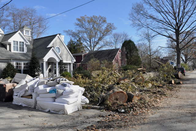 Fairfield Beach, Conn., Nov. 5, 2012 -- This neighborhood's streets were lined with graceful giant trees, which now have fallen - taking power lines with them. Flood waters from Long Island Sound destroyed furnishings and appliances in cellars and upstairs as well. FEMA is working with the utilities to help fund the extensive repairs needed in order to return electric service in the area. Photo by Marilee Caliendo/FEMA